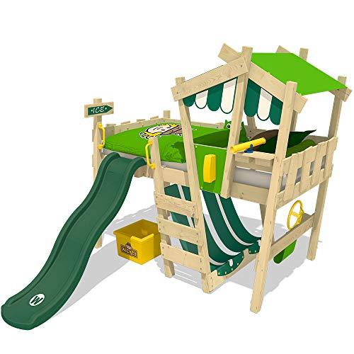 WICKEY Kinderbett Hochbett Crazy Hutty mit grüner Rutsche, Hausbett 90 x 200 cm, Etagenbett