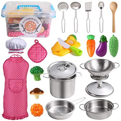 Juboury Küchenspielzeug Zubehör Kinderküche Kochgeschirr Edelstahl Pfannenset Schürze und Kochmütze für...