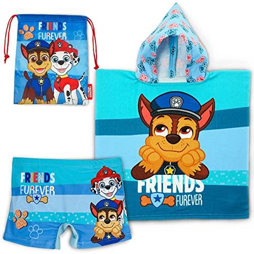 Badehose, Badeponcho Kinder und Turnbeutel Kinder Paw Patrol - Paket Strandzubehör mit Aufbewahrungstasche...