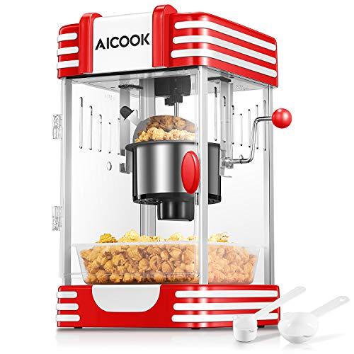 Popcornmaschine, AICOOK Profi Retro Heiße Butter 300W Popcorn Maschine, mit Retro Light,...