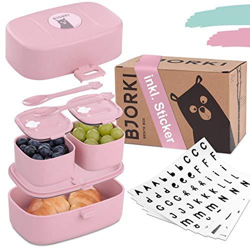BJORKI® Bento Box für Kinder inkl. GRATIS Namensticker - Auslaufsichere Lunchbox mit Fächern - Nachhaltige...