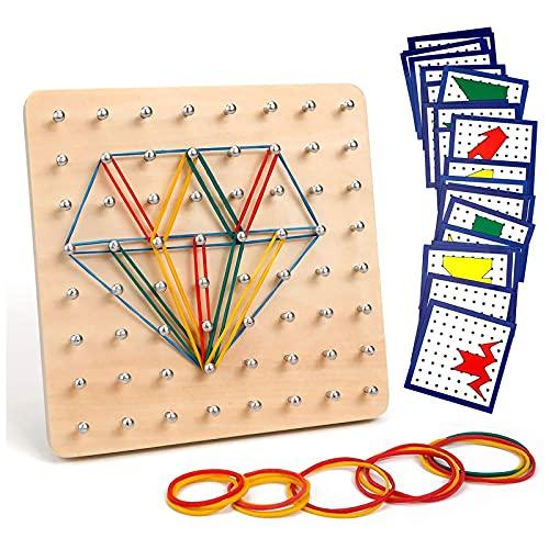 Homealexa Holz Geoboard Set Geometriebrett Montessori Holz Spielzeug für Kinder, Inspirieren die Phantasie...