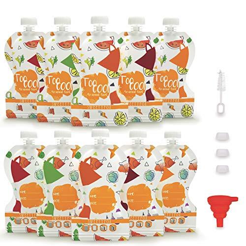 Sweety Fox - 10 x Quetschies Wiederverwendbar 150 ml - BPA & PVC Freie - Auslaufsicherer Doppelzipper -...