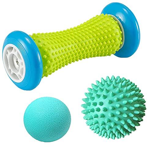 Massageball Fußmassage Set, 3 Stück Fußmassageroller und Massagebälle für Plantarfasziitis Igelball &...