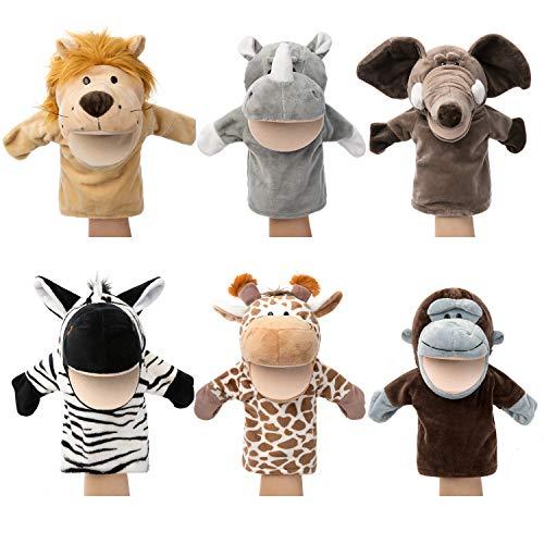 Tier Handpuppen Wilde Tiere Mit beweglichem offenem Mund Plüsch so tun als ob Spielzeuge Perfekt zum...