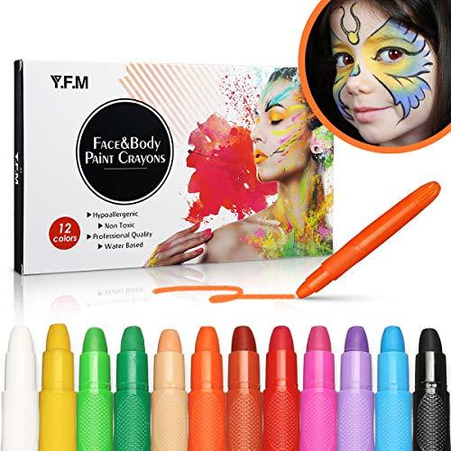 Y.F.M Schminkstifte Kit, 12 Farben Abwaschbare und Helle Farbige Körper Kunst Tattoo Malstifte Kinderschminke...