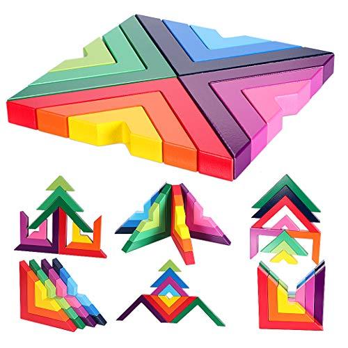 Lewo Holzbausteine Regenbogen Stapeln Spielzeug Geometrie Bausteine Pädagogisches Puzzle Lernspielzeug für...