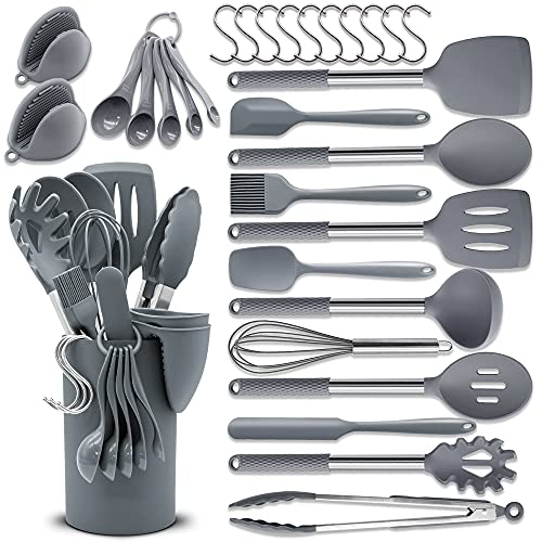 BAIYING Silikon Kochgeschirr Set, 30 Teiliges Silikon Küchenhelfer - Antihaft, Hitzebeständiger...