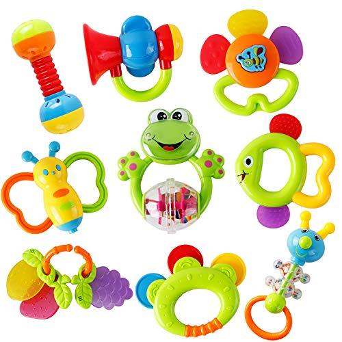 WISHTIME Rassel Beißring Set Baby Spielzeug Shaker Greifen Rassel Baby Kleinkind Neugeborenen Spielzeug...