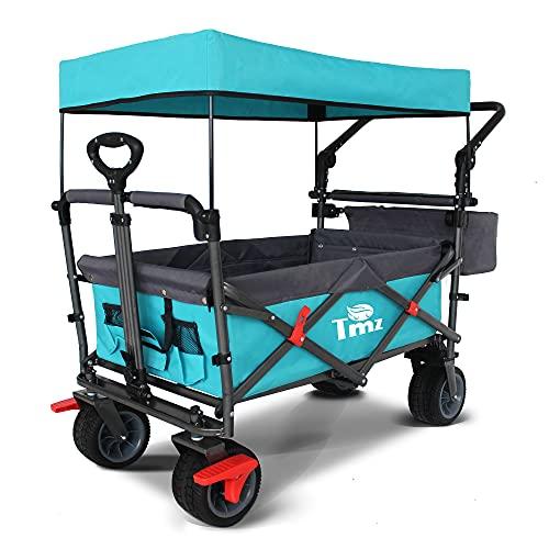 TMZ Faltbar Bollerwagen mit Dach, Klappbar Handwagen für Kinder, Patentiert 360° Dreh-Räder Gartenwagen,...