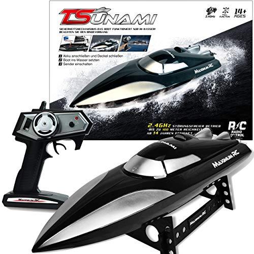 Maximum RC - Ferngesteuertes Boot Tsunami inklusive Ladegerät und Akku - Farbe schwarz - Sender mit...