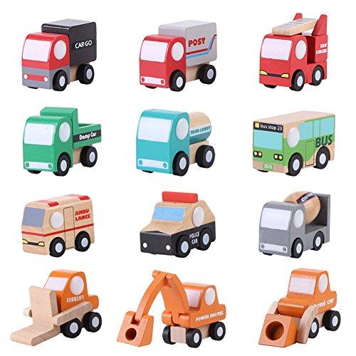 Zerodis 12 Paket Holz Fahrzeug Set Baby Kind Cartoon Spielzeugauto Früherziehung Bildungs Verkehr...