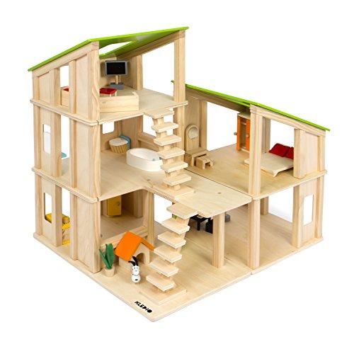 Kledio Kinder Holzpuppenhaus für Mädchen und Jungen ab 3 Jahren, Spielzeug Puppenhaus aus Holz FSC 100%...