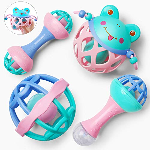 GizmoVine 4pcs Rassel Baby , Greifling Baby Spielzeug, Kleinkinder Neugeborene Glocken Spielzeug Schütteln...