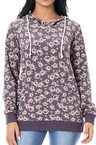Smallshow Schwangere Pflege Damen Langarm Stillen Shirt Sweatshirt Kapuzenpullover Stillzeit AW0006 S