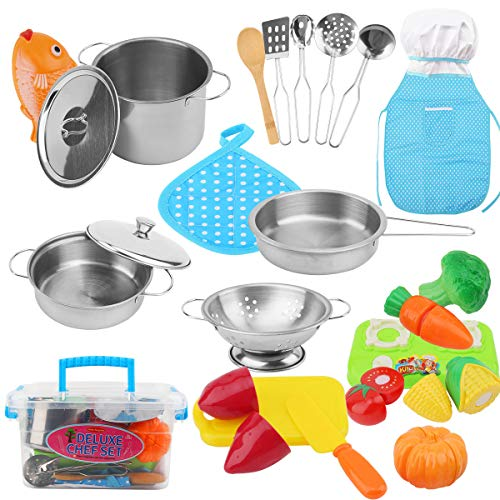 FORMIZON 25-Teiliges Küchenspielzeug Zubehör Kinderküche Kochgeschirr, Edelstahl Pfannenset und Kochmütze...