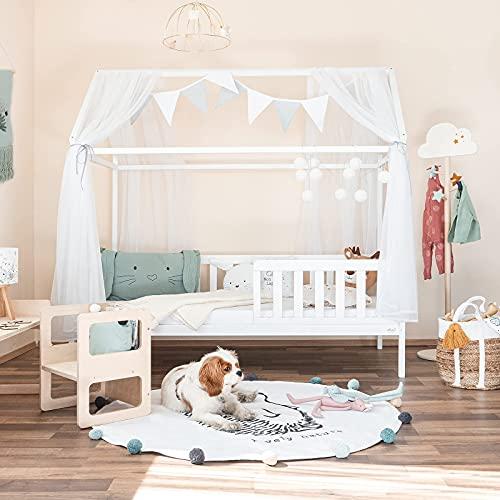Alcube® Hausbett 160x80 cm - Kinderbett mit Rausfallschutz & Lattenrost - Holz Kinder Bett für Jungen &...