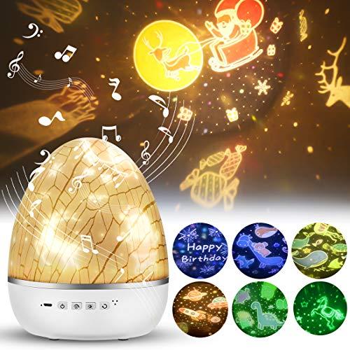 LED Projektor Sternenhimmel Lampe,Musik Nachtlicht Kinder, Baby Nachtlicht Sterne Lampe mit 6...