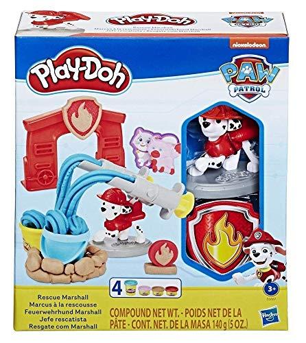 Play-Doh E6887EU5 PAW Patrol Feuerwehrhund Marshall, Spielzeug Figur und Knetwerkzeug mit 4 Farben Knete für...