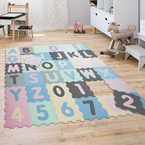 Puzzlematte Spielmatte Schaumstoffmatte Baby Kinder Matte Zahlen Buchstaben Pastell 36 Teile, Grösse:32x32 cm...