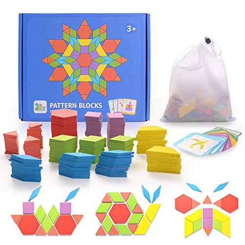 HellDoler Holzpuzzles Geometrische Puzzle 155 Teile Bausteine Montessori Spielzeug Grafische Klassische...