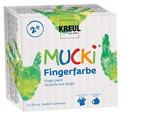Kreul 2314 - Mucki leuchtkräftige Fingerfarbe, 4 x 150 ml in gelb, rot, blau und grün, parabenfrei,...