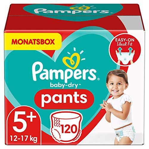 Pampers Windeln Pants Größe 5+ (12-17kg) Baby Dry, 120 Höschenwindeln, MONATSBOX, Einfaches An- und...