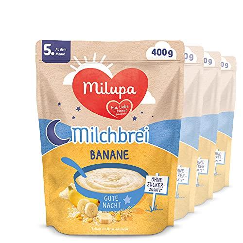 Milupa Milchbrei Banane, Babybrei ohne Zuckerzusatz, Babynahrung ab dem 4. Monat (4 x 400 g)