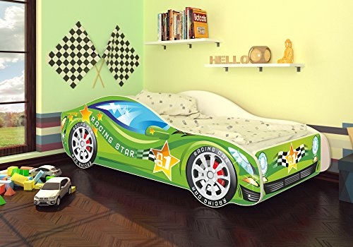Best For Kids Autobett Kinderbett Bett Auto Car Junior in vier Farben mit Lattenrost und Matratze 70x140 cm...
