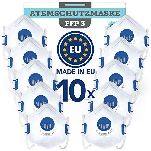 Atemschutzmaske FFP3 wiederverwendbar (10 STK.) Made in EU CE zertifiziert (EN149:2001+A1:2009) - Premium...