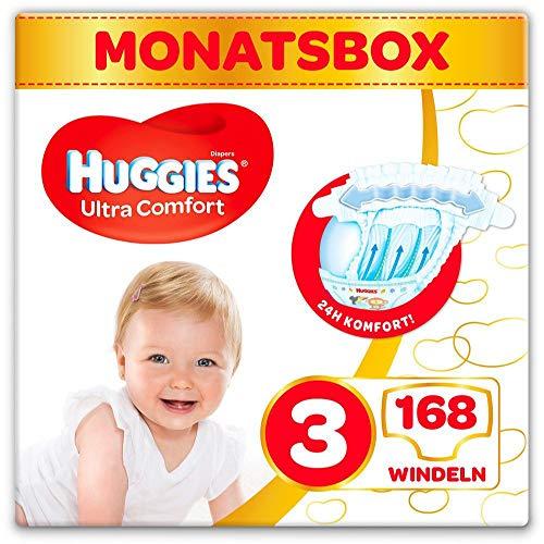Huggies Windeln Ultra Comfort Baby Größe 3 Monatsbox, 1er Pack (1 x 168 Stück) 3 x 56 Stück