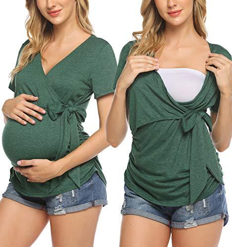 Ekouaer Schwangerschaft Stillen Top Schwangeres Nursing Top Umstandsmode Unterwäsche Still Shirt