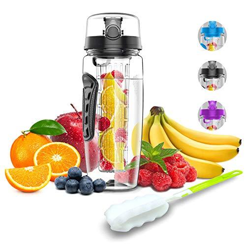 Babacom Wasserflasche Mit Fruchteinsatz 1L/32OZ Trinkflasche Sport mit Infuser Reinigungsbürste Verschluss...