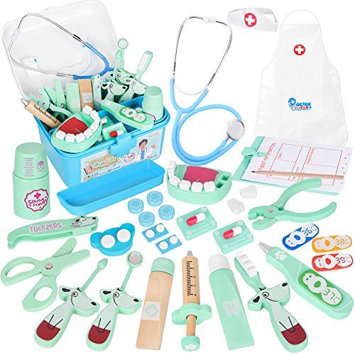 Vanplay Arztkoffer Holz Doktor Spielzeug mit Echt Stethoskop für Kinder Blau Rollenspiel Geschenk ab 3 4 5...