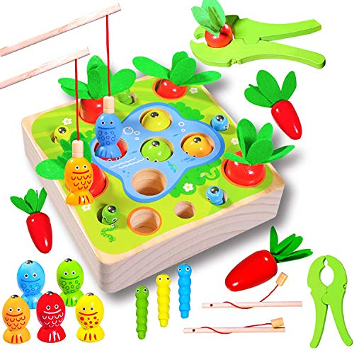 Felly Holzspielzeug ab 1Jahr Baby Motorik Spielzeug Montessori Sortierspiel Holzpuzzle Karottenernte...