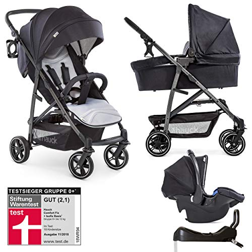 Hauck Rapid 4S Plus: 3 in 1 Kombikinderwagen mit Babyschale und Isofix-Basis