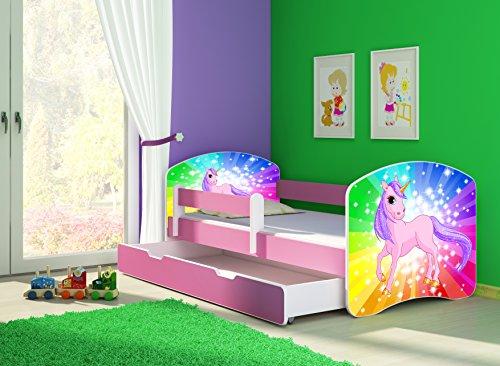 Clamaro 'Fantasia Pink' 160 x 80 Kinderbett Set inkl. Matratze, Lattenrost und mit Bettkasten Schublade, mit...
