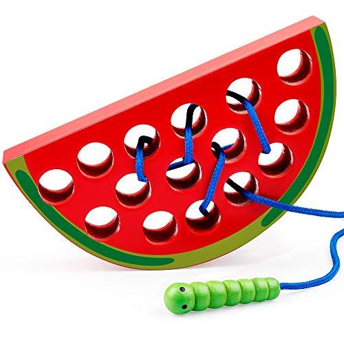 Coogam Holz Wassermelone Einfädeln Spielzeug Holzblock Puzzle Reise Spiel Frühes Lernen Feinmotorik...
