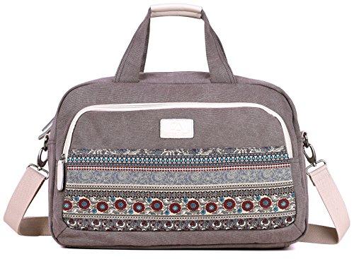 DCCN Damen Canvas Handtasche Große Weekender Tasche 2 in 1 Reisetasche Sporttasche 40 x 18 x 27 cm