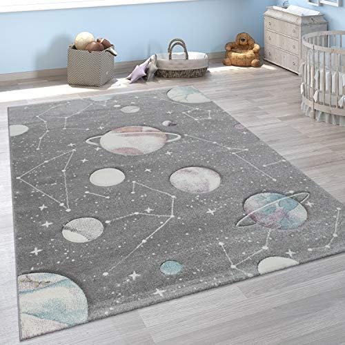 Paco Home Kinder-Teppich, Spiel-Teppich Für Kinderzimmer Mit Planeten Und Sternen, In Grau, Grösse:140x200...
