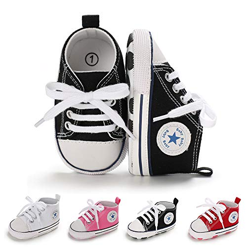 BiBeGoi Baby-Sneaker für Jungen und Mädchen, aus Segeltuch, hohe Schnürung, Freizeitschuhe für...