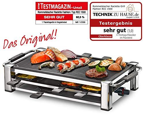 ROMMELSBACHER RCC 1500 Raclette-Grill (extra langes Kabel (2m), Tischgrill für 8 Personen, gerippte...