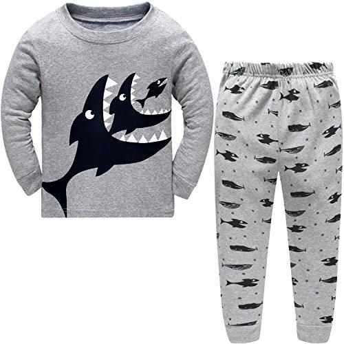 DAWILS Jungen Schlafanzug Grau Hai Fisch 2 Stücke Winter Lang Pyjamas 116