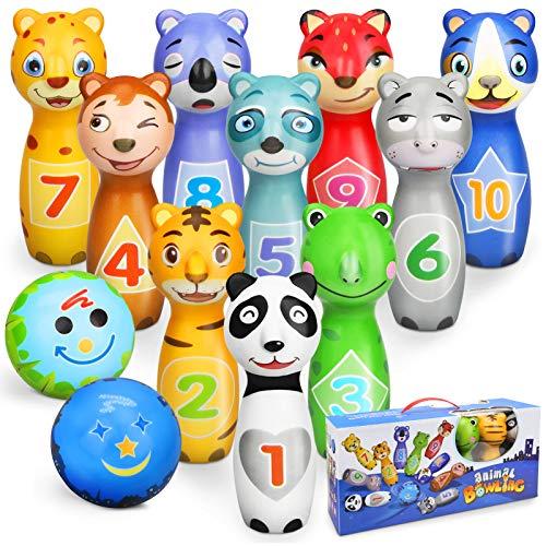 Sanlebi Kegelspiel für Kinder Ball Set mit 10 Kegel und 2 Bälle Bowling Set Mini Drin und Draußen Spielzeug...
