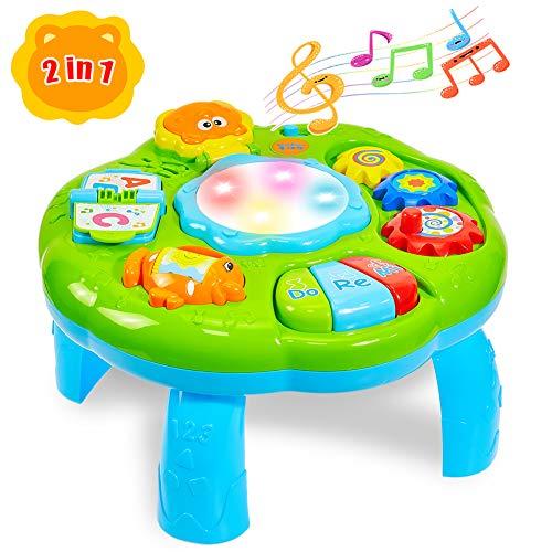 HERSITY Spieltisch Baby Lerntisch Musikalische Aktivitäten mit Beleuchtung und Sound Musikspielzeug Activity...
