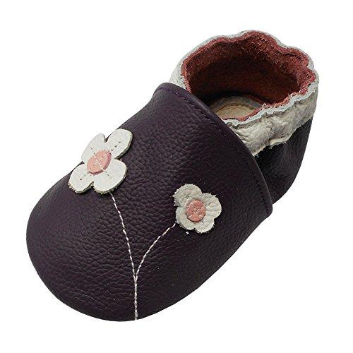 YALION Baby Mädchen Weiches Leder Lederpuschen Kleinkinder Krabbelschuhe mit Süßen Blumen Lila,EU 22/23=L