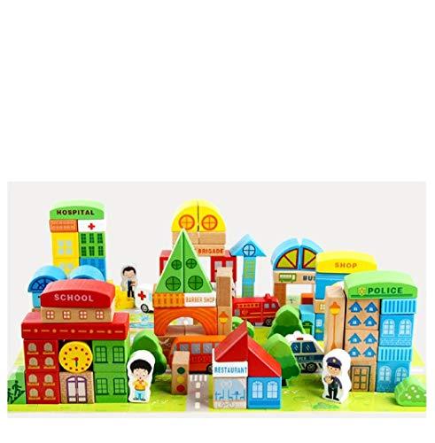 Lalia Bauklötze echtes Holz 100 Teile XL großes Set Bausteine für Kinder ab 3 Jahren. Für Mädchen und...