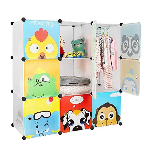 Bamny Kinderzimmer Kleiderschrank, Aufbewahrungsregal für Kleidungen Schuhe Spielzeuge, DIY Steckschrank mit...