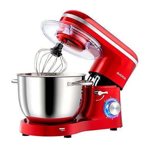 Aucma Küchenmaschine Knetmaschine 1400W, 6.2L Reduzierte Geräusche Knetmaschine mit Rührbesen, Knethaken,...
