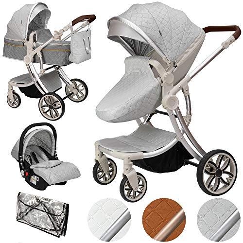 ib style® 3 in 1 JUMA Kombikinderwagen| Kinderwagen + Buggy | inkl. Autoschale | inkl. Regenschutz | Klappbar...